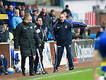 Kilmarnock v St Johnstone..24.11.12      SPL.Kenny Shiels argues with Steve Lomas before being sent to the stands.Picture by Graeme Hart..Copyright Perthshire Picture Agency.Tel: 01738 623350  Mobile: 07990 594431