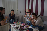 Romania - Timisoara - (from left to right) Domina Monserrat, Lynette Smith, Nathali Rose and Krina get make up before going online.