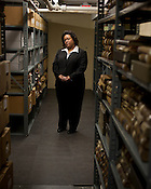 Independent Weekly Citizen Award winner Charmaine Fuller Cooper currently manages the state's reparations for involuntary sterilization victims, which means checking claims against thousands of records stored in the North Carolina State Records Center, Wednesday, January 11, 2012. Cooper has played a big role in several monumental issues in North Carolina, starting when she was only 21 to mount a letter-writing campaign at NCCU to stay the execution of a man on death row.