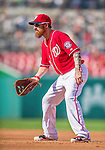6 September 2014: Washington Nationals first baseman Adam LaRoche in action against the Philadelphia Phillies at Nationals Park in Washington, DC. The Nationals fell to the Phillies 3-1 in the second game of their 3-game series. Mandatory Credit: Ed Wolfstein Photo *** RAW (NEF) Image File Available ***