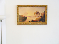 Cropsey: &quot;Figures in the Hudson River&quot;,  Image Dims.18.75&quot; x 32&quot;<br /> Framed Dims. 24&quot; x 38&quot;. Jasper Francis Cropsey (1823-1900) was an important American landscape artist of the Hudson River School.