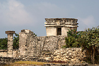 Temple of the Descending God  at the Mayan ruins of Tulum on the Riviera Maya, Quintana Roo, Mexico..