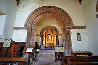Norman Romanesque interior of the Norman Romanesque Church of St Mary and St David, Kilpeck Herefordshire, England. Built around 1140