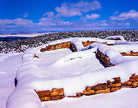 Lowry Ruin in winter, Canyons of the Ancients National MOnument, Colorado, Ancestral Puebloan ruins After heavy snow