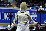 DURHAM, NC - FEBRUARY 25: Notre Dame's Francesca Russo reacts after winning the Women's Saber championship. The Atlantic Coast Conference Fencing Championships were held on February, 25, 2017, at Cameron Indoor Stadium in Durham, NC.