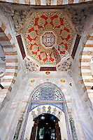 Entrance to the Ottoman style Tomb of Sultan Selim II in the outer courtyard of Aya Sophia. Built in in 1577 the exterior is white marble and İznik ceramic tiles , Istanbul, Turkey