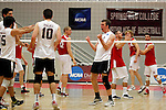 29 APR 2012:  Keaton Pieper (12) of Springfield College celebrates a point against Carthage College during the Division III Men's Volleyball Championship held at Blake Arena in Springfield, MA.  Springfield defeated Carthage 3-0 to win the national title.  Jessica Rinaldi/NCAA Photos