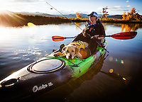 Kathy Holcombe kayak fishing in McCall Lake , Longmont, CO, Jackson Kayak Cruise 12.