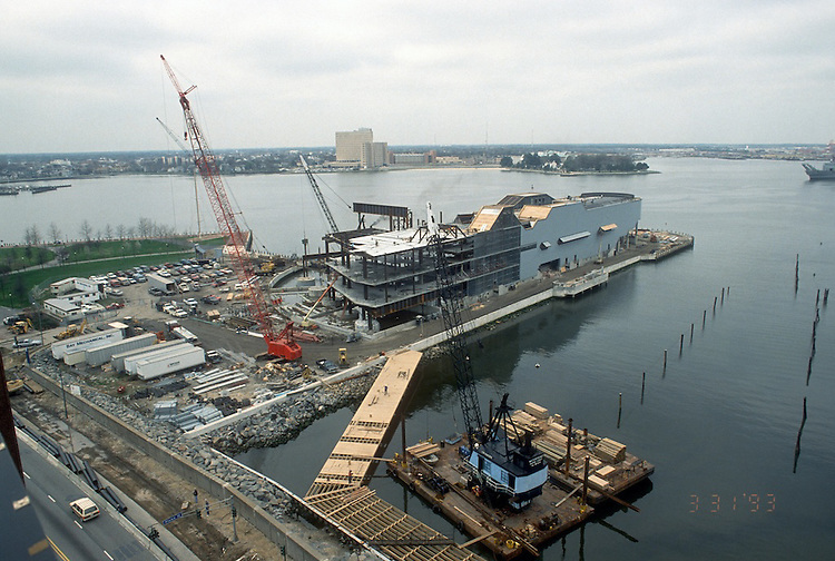 1993 March 31..Redevelopment.Downtown West (A-1-6)..NAUTICUS.CONSTRUCTION PROGRESS.LOOKING SOUTHWEST FROM TOWN POINT CENTER ROOF...NEG#.NRHA#..