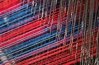 Detail of a traditional Shaker loom with colorful yarn, Hancock Shaker Village, Stockbridge, Massachusetts, USA