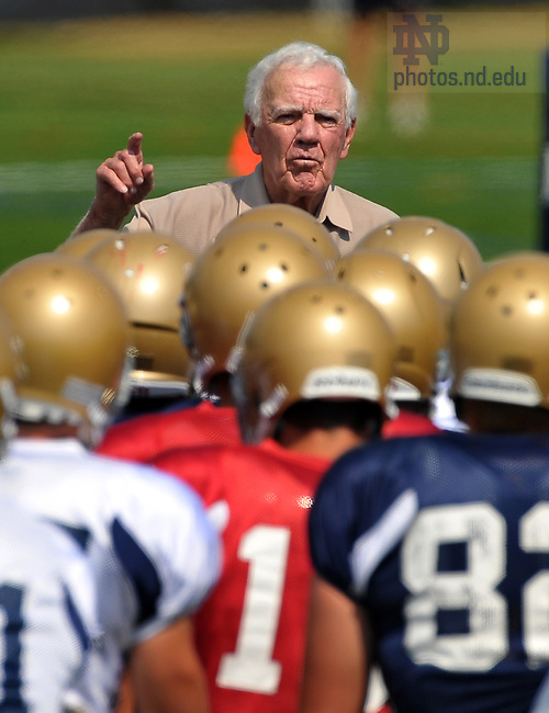 Former head football coach Ara Parseghian addresses the 2010 Fighting Irish during at Practice at the LaBar Practice Complex August 19, 2010...Photo by Matt Cashore