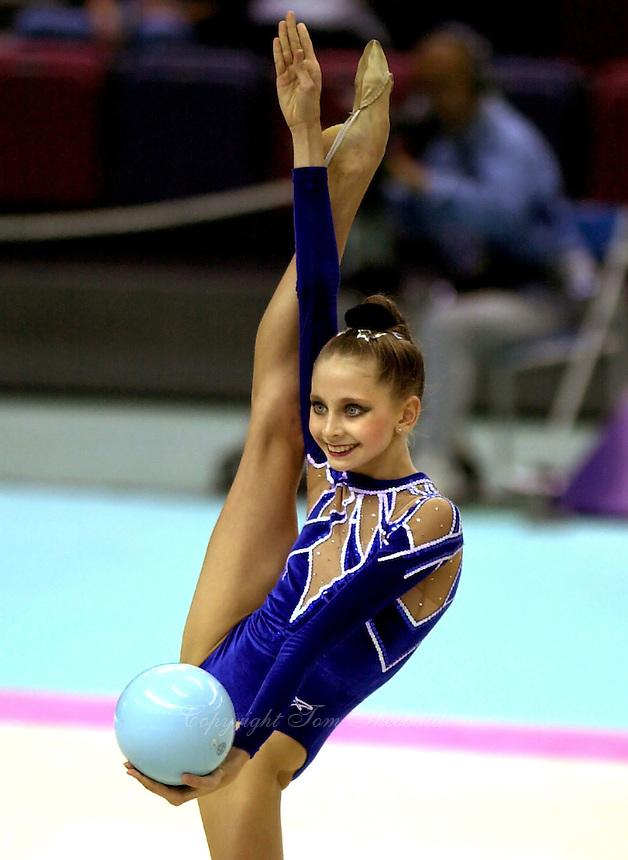 01 OCTOBER 1999 - OSAKA, JAPAN: Olga Belova (RUS) performs in team and all-around finals at 1999 Rhythmic Gymnastics World Championships.
