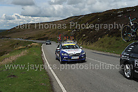 PRO team cyclists near the top of the challenging iconic and notorious 6km 10% stretch of road namely The Tumble during the Wales Velothon 2016 140km route cycling race. Emergency bicycle replacement car.<br />  <br /> <br /> <br /> Jeff Thomas Photography -  www.jaypics.photoshelter.com - <br /> e-mail swansea1001@hotmail.co.uk -<br /> Mob: 07837 386244 -