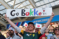 A South Africa fan in the crowd shows her support. Rugby World Cup Pool B match between South Africa and Japan on September 19, 2015 at the Brighton Community Stadium in Brighton, England. Photo by: Patrick Khachfe / Onside Images