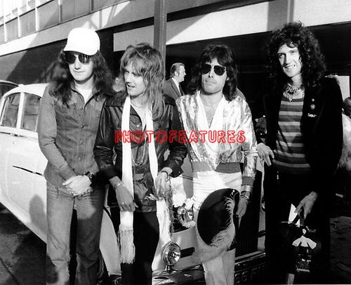 Queen 1975 John Deacon, Roger Taylor, Freddie Mercury and Brian May..© Chris Walter..