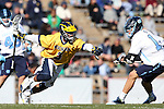 06 February 2016: Michigan's Chase Young (3) and North Carolina's Luke Goldstock (1). The University of North Carolina Tar Heels hosted the University of Michigan Wolverines in a 2016 NCAA Division I Men's Lacrosse match. UNC won the game 20-10.