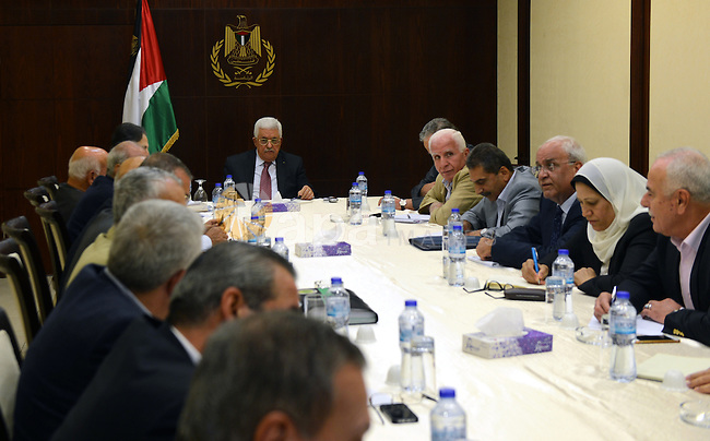 Palestinian President, Mahmoud Abbas chairs a meeting of the Executive Committee in the West Bank city of Ramallah on August 31,2015. Photo by Osama Falah