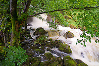 Launchy Gill waterfall by Thirlmere in the Lake District National Park, Cumbria, UK