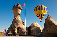Hot Air Baloons over the Fairy chimney Police station near Zelve , Cappadocia Turkey