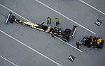 Jan. 21, 2012; Jupiter, FL, USA: Aerial view of the car of NHRA top fuel dragster driver Tony Schumacher in the staging lanes during testing at the PRO Winter Warmup at Palm Beach International Raceway. Mandatory Credit: Mark J. Rebilas-