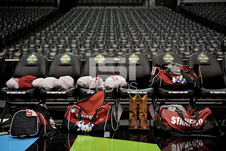 Dallas, TX - Friday March 31, 2017: Stanford player's gear prior to the NCAA National Semifinal Game between the women's basketball teams of Stanford and South Carolina at the American Airlines Center.