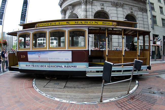 Cable car being turned around at Powell Street