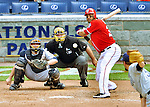 29 May 2011: Washington Nationals first baseman Michael Morse in action against the San Diego Padres at Nationals Park in Washington, District of Columbia. The Padres defeated the Nationals 5-4 to take the rubber match of their 3-game series. Mandatory Credit: Ed Wolfstein Photo