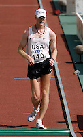 Kevin Eastler had a mark of 1:28:29 in the 20k racewalk on Sunday morning August 26, 2007.Photo by Errol Anderson,The Sporting Image.