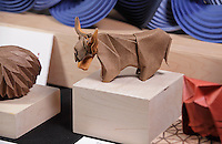 Highland cattle origami designed and folded by Beth Johnson, Michigan, USA.