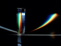PRISM REFRACTS WHITE LIGHT TO FORM CURVED SPECTRUM<br />