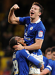 Leicester's David Nugent scores and celebrates the winning goal