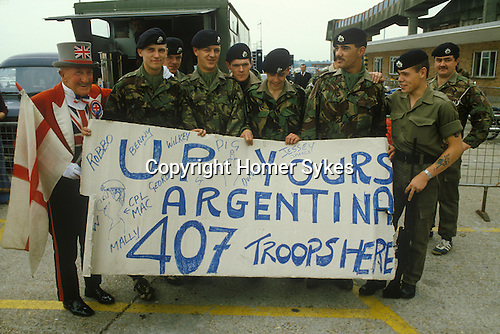 Falklands War soldiers at Southampton Dock before leaving on Queen Elizabeth 2 QE2