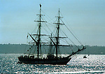 Silhouette of Schooner America  anchored in San Diego bay California, Schooner America, schooner, San Diego Bay California, tall ship, full rigged ship named after the Greek goddess of music, tall ship is large traditionally rigged sailing vessel, topsail, schooners, brigantines, brigs, barques, full rigged ship named after the Greek goddess of music, California Fine Art Photography by Ron Bennett,