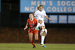 20 October 2013: North Carolina's Kelly McFarlane (11) and Clemson's Kylie Tawney (17). The University of North Carolina Tar Heels hosted the University of Virginia Cavaliers at Fetzer Field in Chapel Hill, NC in a 2013 NCAA Division I Women's Soccer match. North Carolina won the game 2-0.