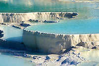 Photo & pictures  of Pamukkale Travetine Terrace, Turkey. Photography of the white Calcium carbonate rock formations. Buy as stock photos or as photo art prints. 3 Pamukkale travetine terrace water cascades, composed of white Calcium carbonate rock formations, Pamukkale, Anatolia, Turkey