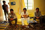 Marsh Arabs. Southern Iraq. Circa 1985. Marsh Arab men in wealthy family home in Baghdad.