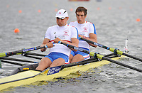 Brandenburg, GERMANY,  GBR BM2X, Bow Charles COUSINS and Bill LUCUS, move away from the start at the 2008 FISA U23 World Rowing Championships, {idow], {date}, [Mandatory credit: Peter Spurrier Intersport Images]. Rowing Course: Brandenburg, Havel Rowing Course, Brandenburg, GERMANY