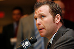 Mar 17, 2009; Newark, NJ, USA; New Jersey Devils goalie Martin Brodeur (30) speaks to the press about setting the record for most NHL wins.  Brodeur defeated the Chicago Blackhawks 3-2 for his 552 win, passing Patrick Roy.