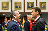 TALLAHASSEE, FLA. 1/12/16-Senate President Andy Gardiner, R-Orlando, right, talks with Rep. Richard Corcoran, R-Land O'Lakes,cduring the opening day of the 2016 legislative session, Tuesday at the Capitol in Tallahassee.<br /> <br /> COLIN HACKLEY PHOTO