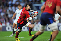 Scott Spedding of France goes on the attack. QBE International match between England and France on August 15, 2015 at Twickenham Stadium in London, England. Photo by: Patrick Khachfe / Onside Images