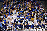 UK guard Julius Mays attempting to block a three pointer being shot by LSU senior guard Charles Carmouche during the first half of the men's basketball game vs. LSU at Rupp Arena on Saturday, January 26, 2013, in Lexington, Ky. Photo by Kalyn Bradford | Staff