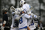 01 March 2015: Duke's Deemer Class is mobbed by teammates after scoring the game's first goal. The Duke University Blue Devils hosted the Providence College Friars on the West Turf Field at the Duke Athletic Field Complex in Durham, North Carolina in a 2015 NCAA Division I Men's Lacrosse match. Duke won the game 20-8.