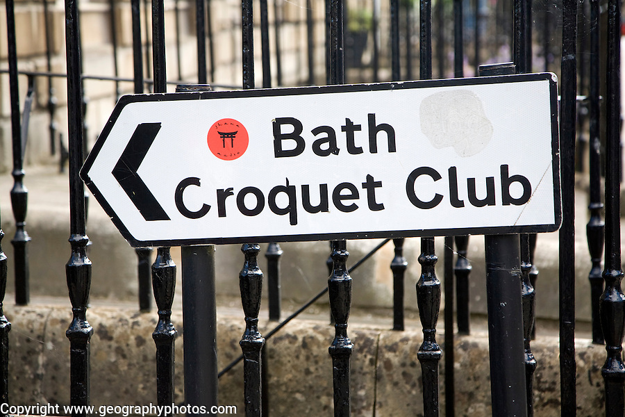 Street sign for croquet club in Bath, Somerset, England