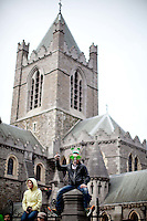 17/3/2011. ST PATRICKS DAY DUBLIN. Revellers pictured at Christ Church enjoying the Dublin St Patricks Day Parade. Picture James Horan/Collins Photos