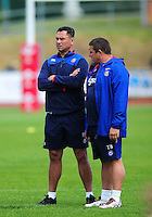 Bath Rugby Head Coach Tabai Matson and first team coach Toby Booth look on during the pre-match warm-up. Pre-season friendly match, between the Scarlets and Bath Rugby on August 20, 2016 at Eirias Park in Colwyn Bay, Wales. Photo by: Patrick Khachfe / Onside Images