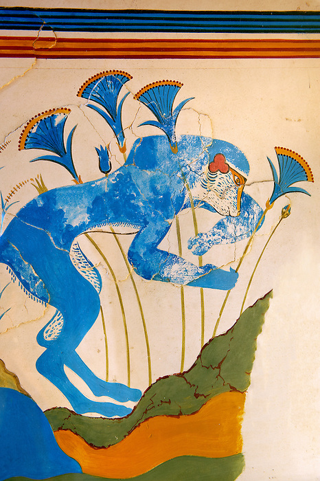 Arthur Evans reconstruction of  the Blue Monkey Knossos Minoan archaeological site, Crete