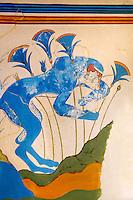Arthur Evans reconstruction of  the Blue Monkey Knossos Minoan archaeological site, Crete