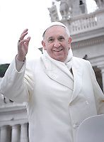 Pope Francis during his weekly general audience in St. Peter square at the Vatican, Wednesday 27 november 2013
