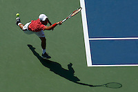 Kei Nishikori of Japan misses a shot against Novak Djokovic of Serbia during men semifinal match at the US Open 2014 tennis tournament in the USTA Billie Jean King National Center, New York.  09.05.2014. VIEWpress