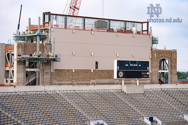 August 31, 2016; Sacred Music building and Notre Dame Stadium information board under construction (Photo by Matt Cashore/University of Notre Dame)